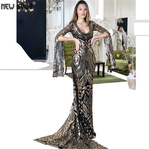 Sparkly Sequins Evening Dress Elegant Muslim Islamic Long Sleeve Prom Dresses Custom Made 2019 Robe De Soiree MIddle East Gowns