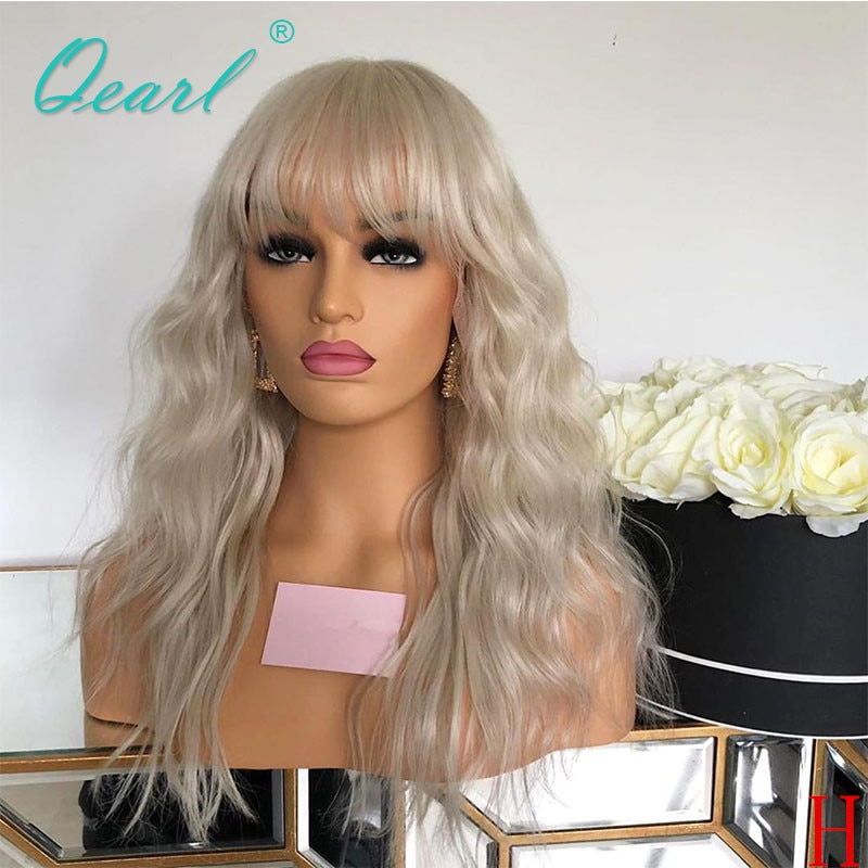 Peluca de pelo humano transparente con flequillo, pelucas con flecos de Color rubio platino, pelo Remy ondulado peruano 150% 180% qpearl