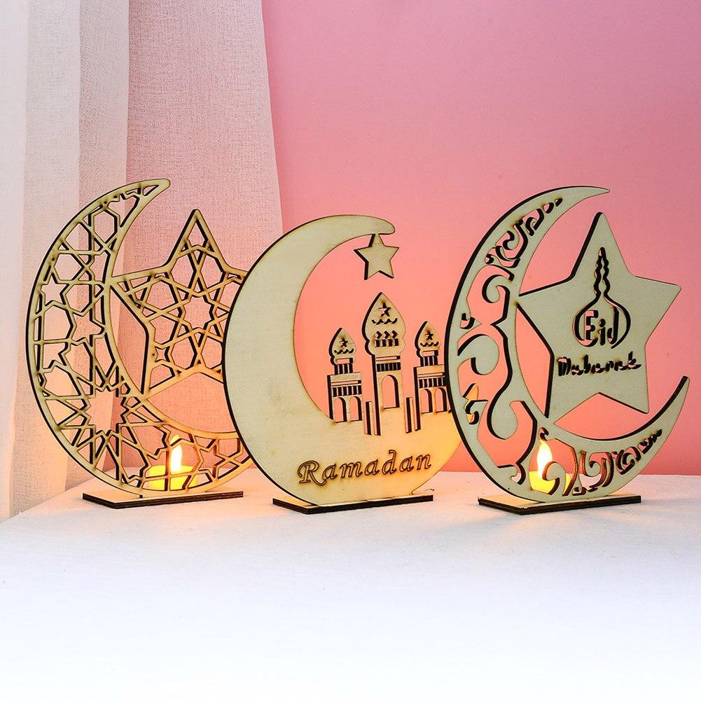 Wooden Moon Star LED Lights Desktop Ornament Eid Mubarak Muslim Islam Ramadan Festival Decorations Art Craft for Home