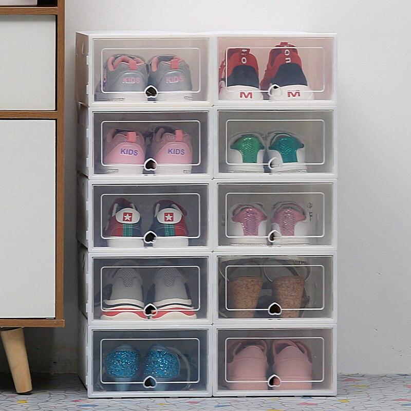 Paquete de 6 cajas transparentes de zapatos, almacenamiento a prueba de polvo para el hogar, organizador, ahorro de espacio, moderna moda, de plástico, cajones de almacenamiento