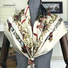 Foulard carré en soie imprimé pour femme   Écharpe élégante de marque de luxe, écharpe carrée à chaîne, écharpe carrée de 90*90 cm, foulards féminins en soie