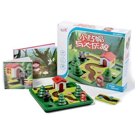 لعبة ألغاز تعليمية للأطفال ، لوحة ، لعبة لعب الأدوار ، قبعة حمراء صغيرة وذئب رمادي كبير ، تدريب منطقي