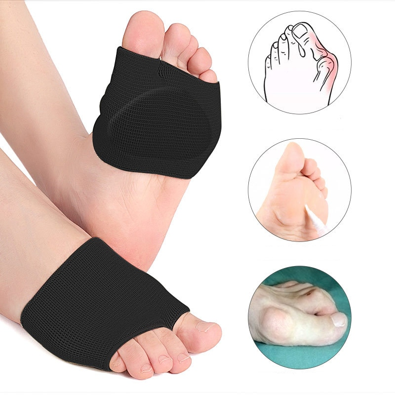 Forefoot Sleeve Pads Thicken Soft Metatarsal Half Toe Bunion Gel Cushion Sock Support Comfortable Ball of Foot Cushions abdb silica gel toe separator bunion splint for hammer toe with forefoot cushion pad half toe sleeve metatarsal pads
