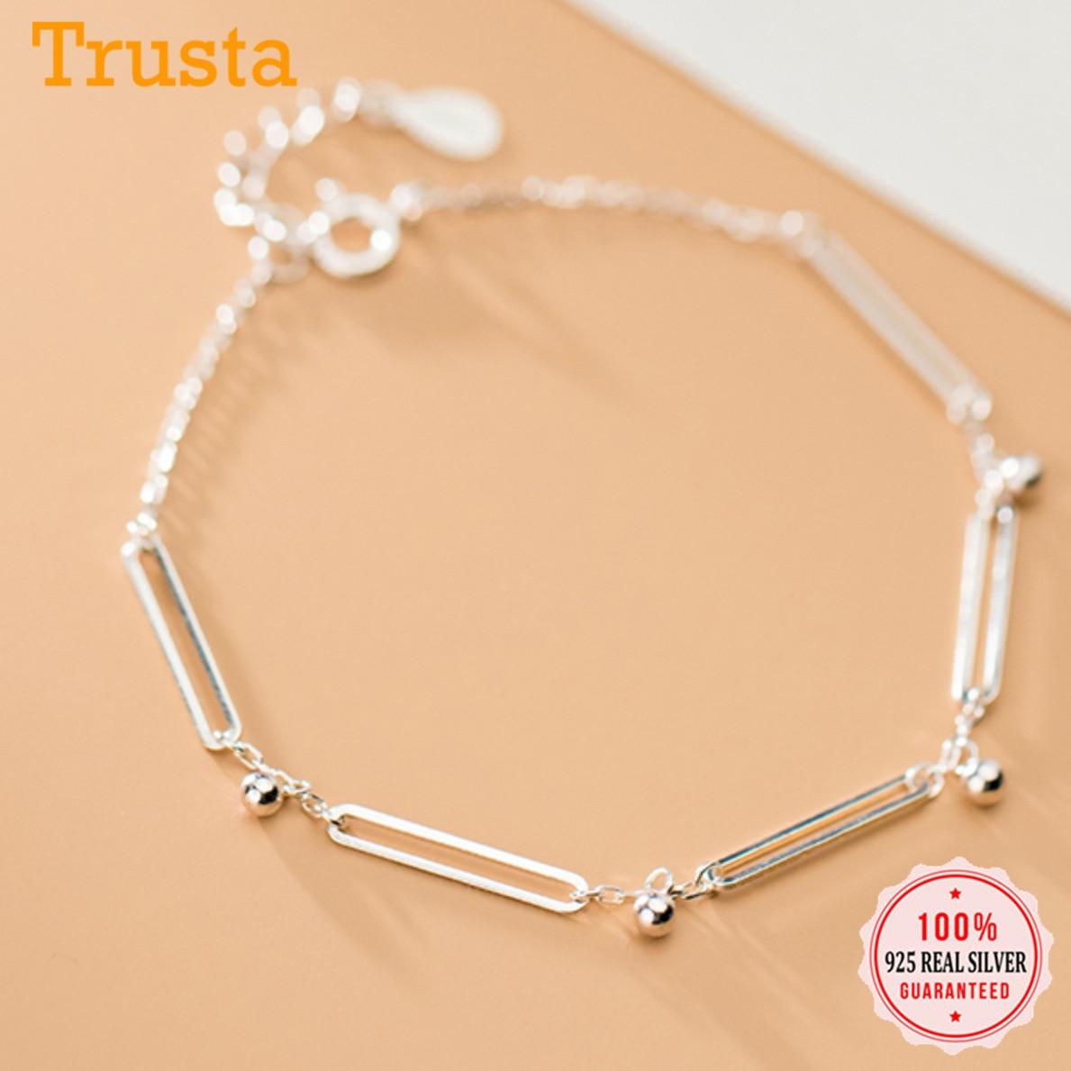 Trustdavis auténtica Plata de Ley 925 cuentas de moda geométrica brazalete rectangular para mujeres boda fina S925 joyería DA1086