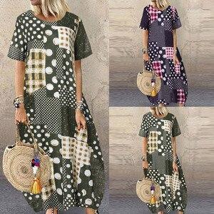 Dress Women Summer платье Plus Size Loose Long Dress Fashion Vintage Round Neck Short Sleeve Print Casual Maxi Dress Flowy Comfy
