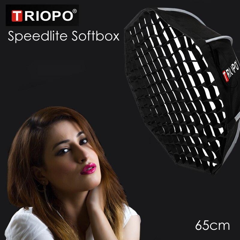 Triopo المحمولة فلاش Speedlite الفوتوغرافي Softbox w/العسل شبكة 65 سنتيمتر الصورة في الهواء الطلق المثمن مظلة لينة مربع لكانون نيكون Godox