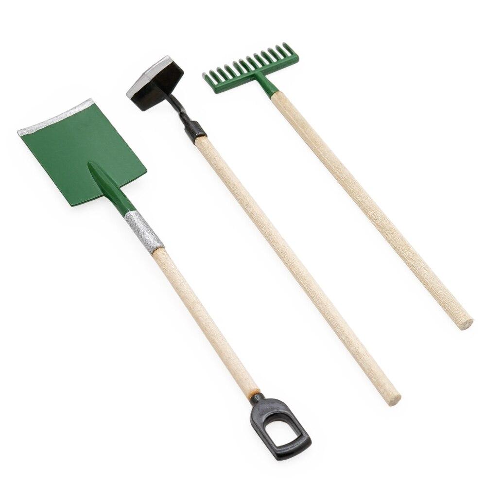 Odoria 1:12 миниатюрные 3 шт. металлические лопатки грабли садовые инструменты набор