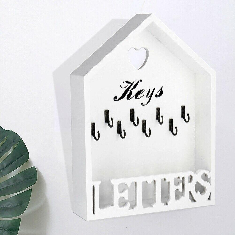 رف حروف محمول للمنزل ، منظم خشبي ، 8 خطافات ، حامل مفاتيح ، ديكور مكتب عتيق ، علاقة جدارية