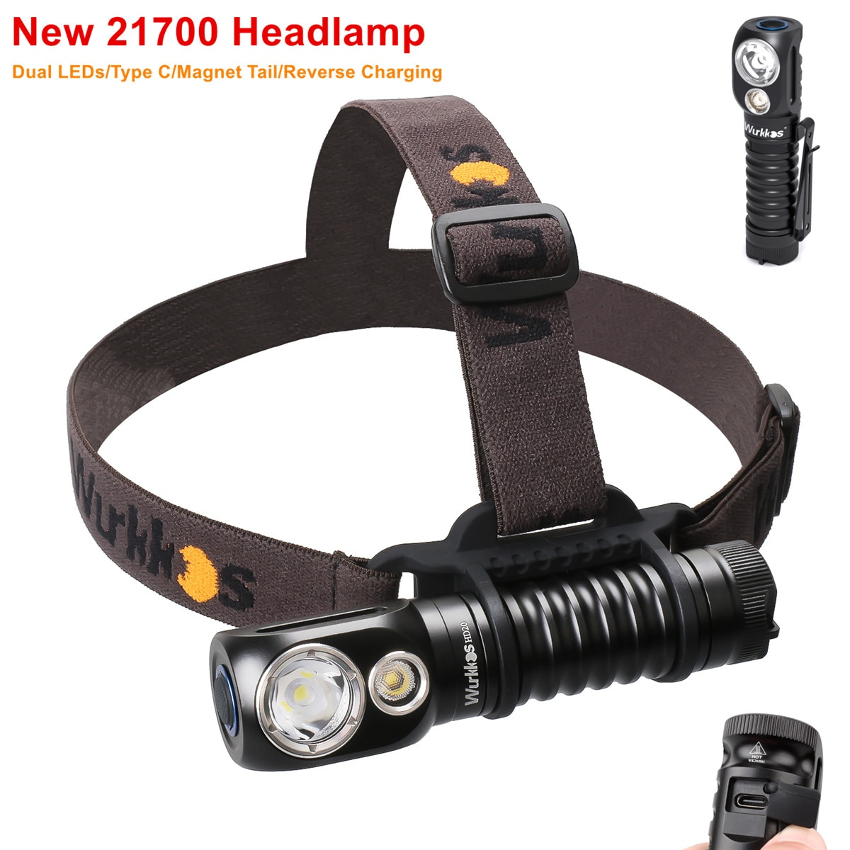 Wurkkos HD20 Rechargeable Headlamp 21700  LED light 2000lm Dual LED LH351D PL with Type C Reverse Charge Magnetic Tail