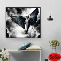 abstract wall art wing feather wing woman paintings on canvas fashion girl flower poster and print modular pictures home decor