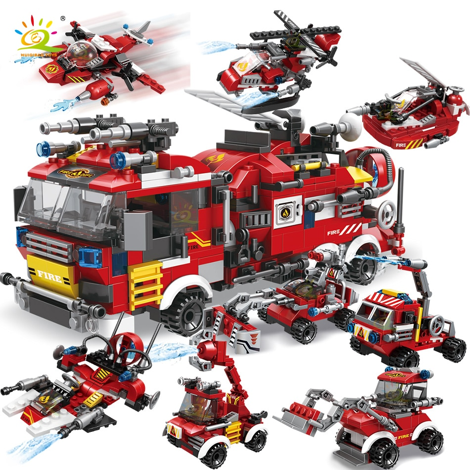 HUIQIBAO 806 قطعة مكافحة الحرائق 8in1 الشاحنات سيارة هليكوبتر قارب اللبنات مدينة رجال الاطفاء أرقام رجل الطوب ألعاب أطفال