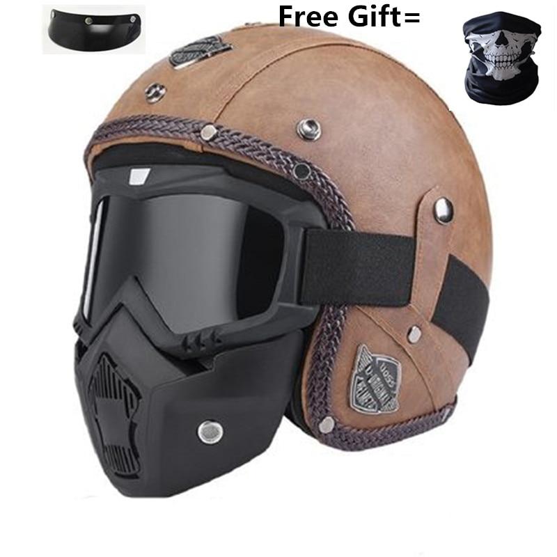 Adult Leather Helmets 3/4 Motorcycle Helmet High quality Chopper Bike helmet open face vintage motorcycle motocros