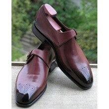 High Quality New Fashion Men Pu Leather Elegant Shoes Vintage Casual Classic Male Monk Strap Simple