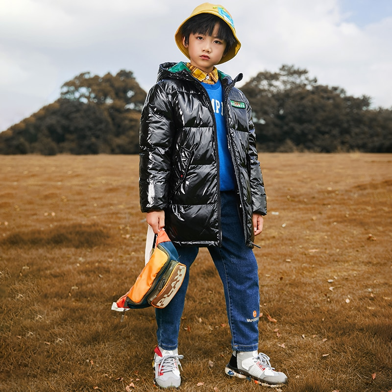 Boy's Down Jacket Thickening Medium And Long Foreign Style Fashion Keep Warm Comfortable 2021 New Pattern enlarge