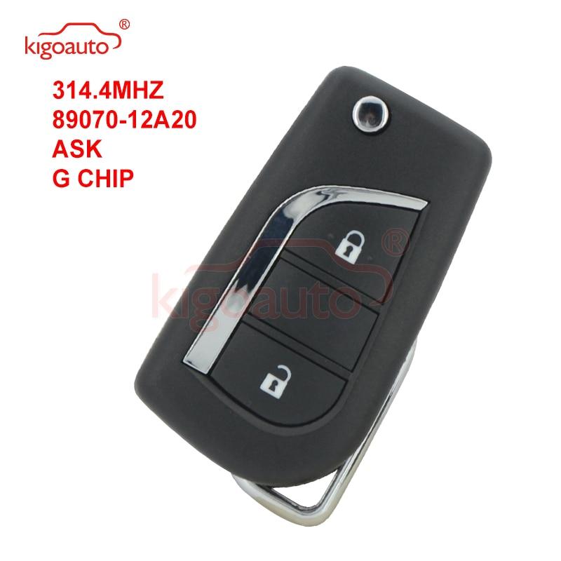Kigoauto 89070-12a20 flip remoto chave 2 botão g chip 314.4mhz peça toy48 lâmina sem cortes para austrália toyota corolla 2012-2017