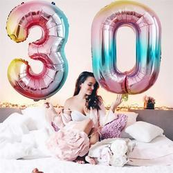 Balões digitais de alumínio de números, balões de alumínio de 16/32/40 polegadas, para decoração de festas infantis, chá de bebê e casamento