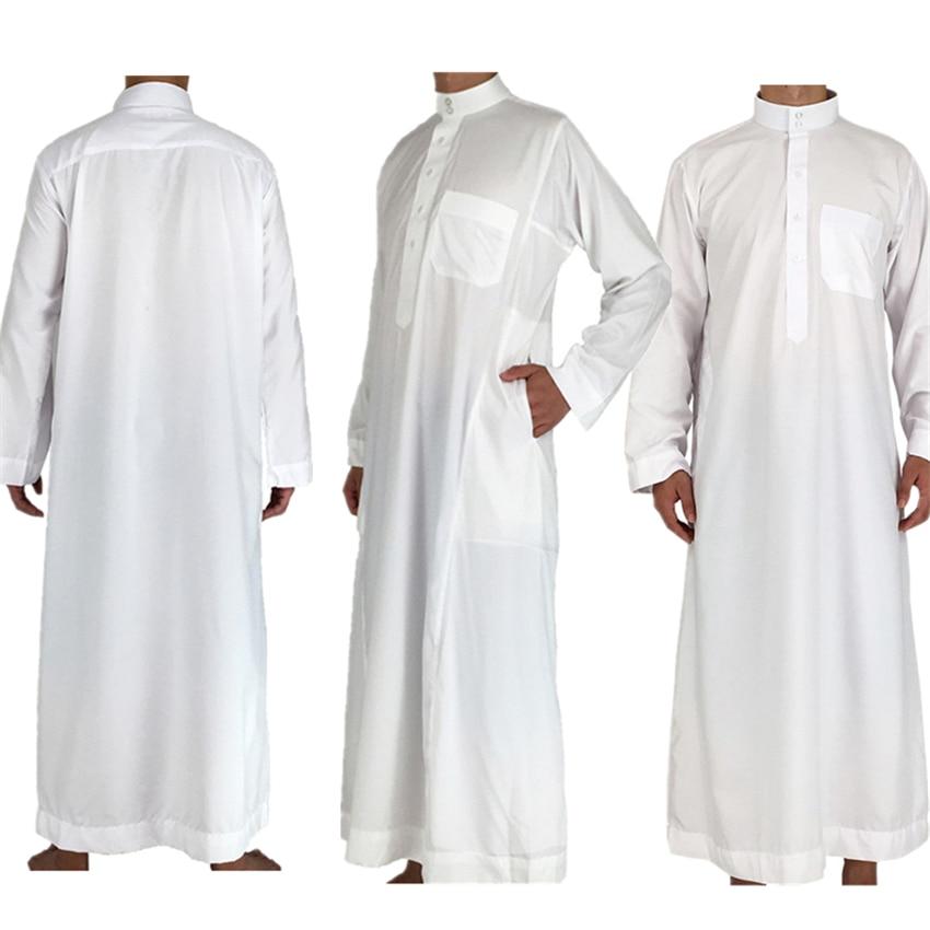 White Long Sleeve Islamic Men Clothing Jubba Thobe Abaya Dubai Saudi Arabia Traditional Ramadan Kurta Eid Arab Robes