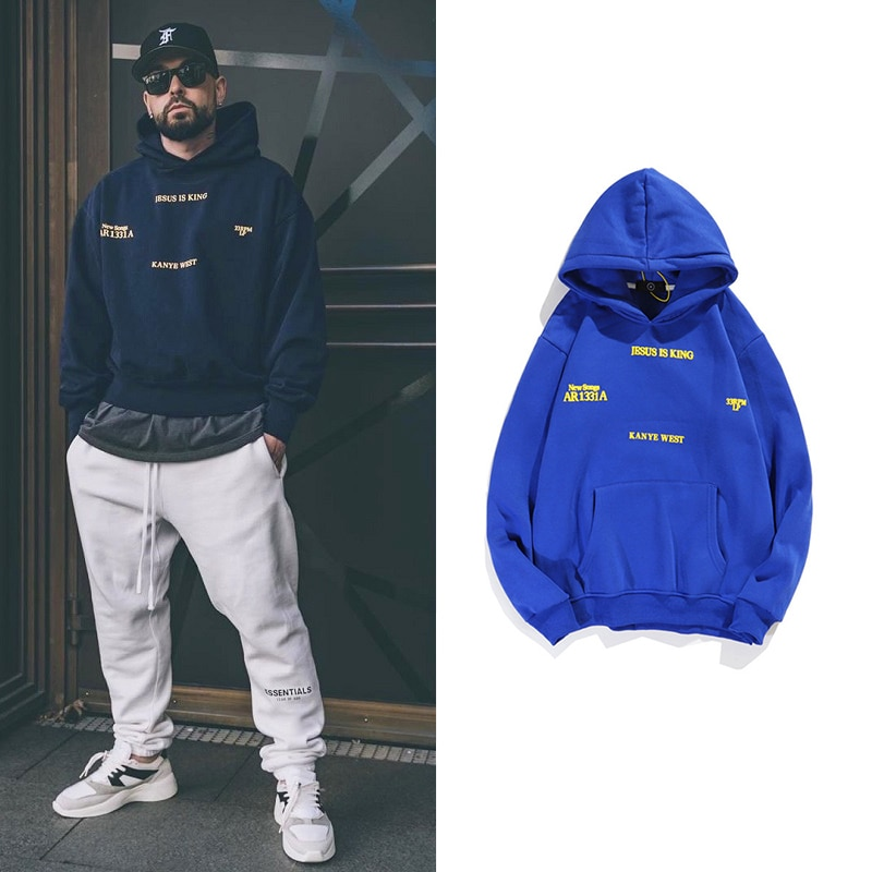 Мужские пуловеры, толстовки с капюшоном с изображением Иисуса короля Канье Уэста, винтажные осенне-зимние синие флисовые толстовки в стиле ...