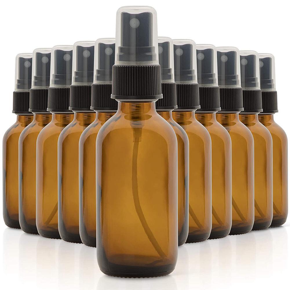Botella de aceite esencial recargable portátil, de viaje, de 30/60ml, 5/12 Uds., botella de vidrio espray portátil ligero, contenedor de vidrio para cosméticos