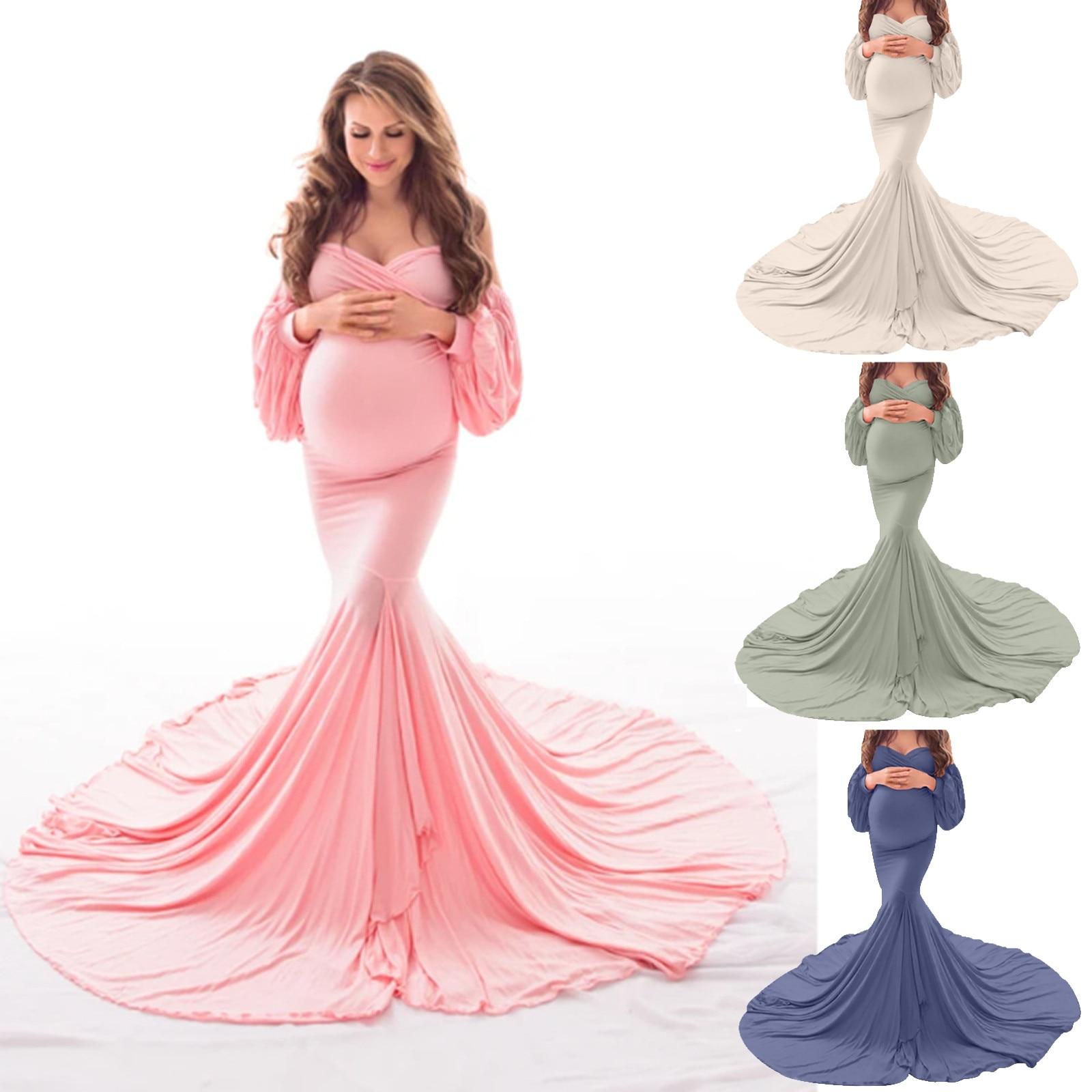 Maternity Clothes Dress Summer Women Pregnants Sexy Photography Props Off Shoulders Maternity Solid Dresses Zwangerschapsjurk