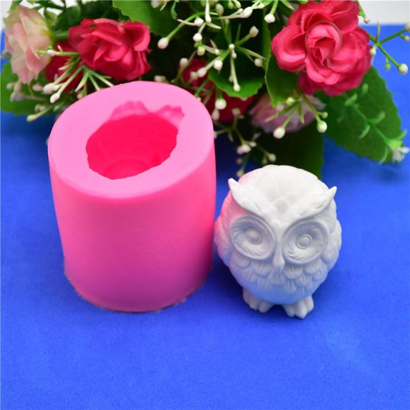 Moule à savon en Silicone 3D Animal chouette   Moule à bougie en résine, moules à gâteaux de Fondant, outils de décoration au chocolat, moules de pâtisserie à gâteaux