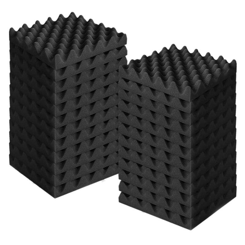 24 قطعة ألواح فوم صوتية مقاومة للحريق معالجة عازلة للصوت ألواح للحائط ، رغوة إلغاء الضوضاء للتسجيل والمكاتب ، الخ CNIM Ho