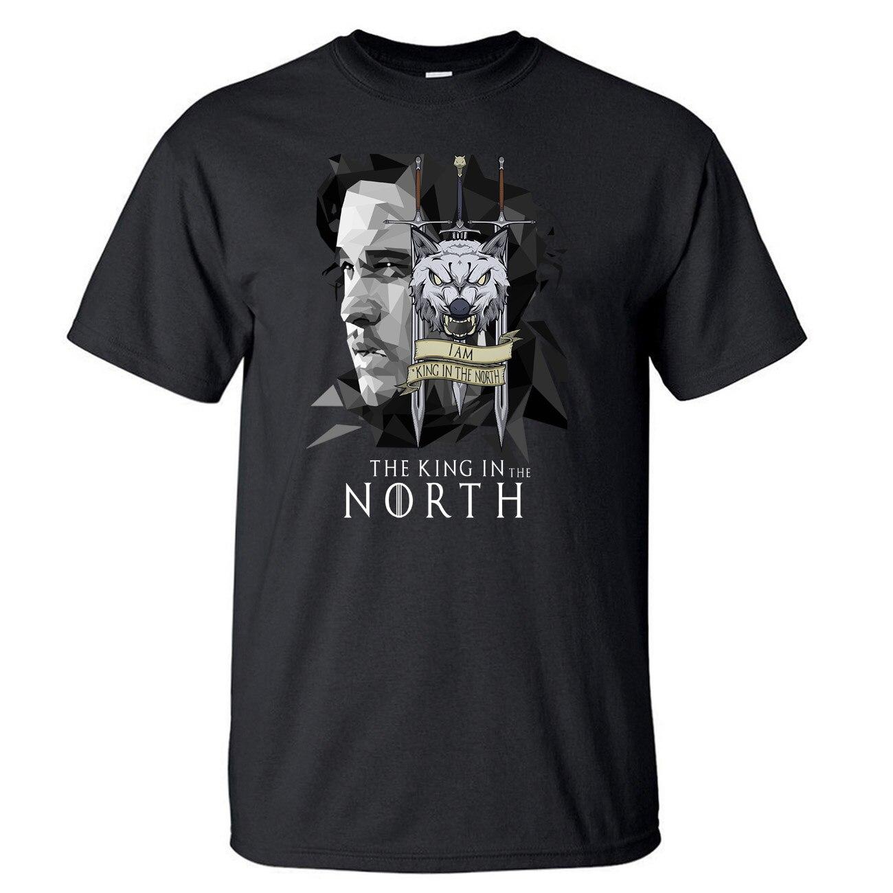 Juego de tronos Jon nieve camiseta hombres casa Stark rey en el norte camiseta verano algodón manga corta Lobo negro camiseta