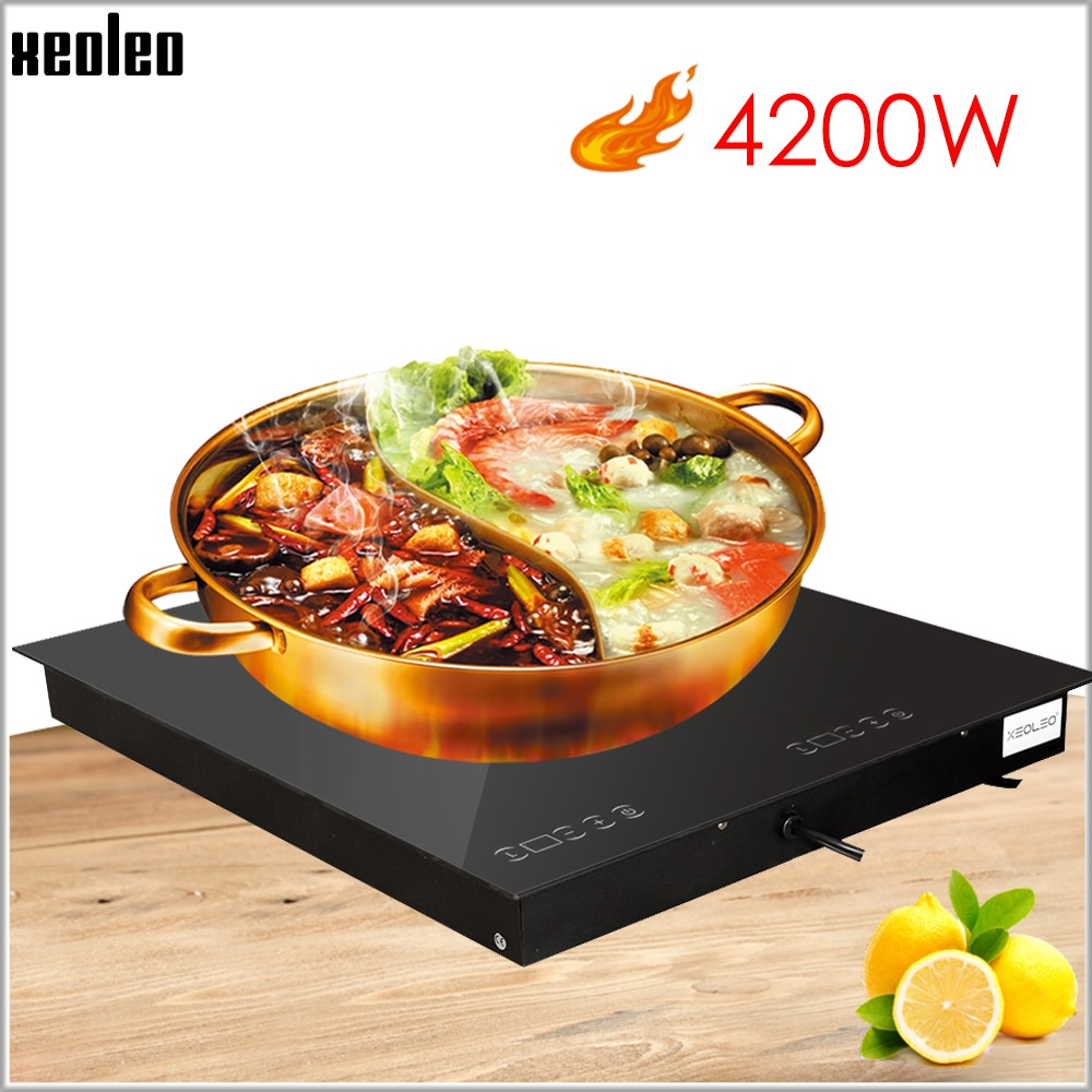 XEOLEO المدمج في موقد سيراميك الكهربائية المنزلية التعريفي طباخ 4200 واط لوحة اللمس موقد كهربائي واحد طباخ 220 فولت مع توقيت