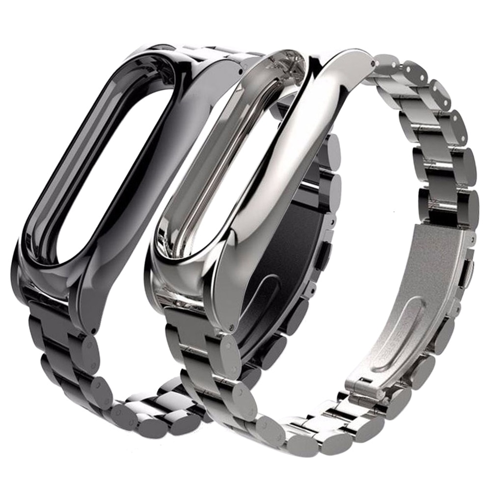 for xiaomi  mi band 2 strap Plus Stainless Steel Metal Screwless wrist strap  for Miband 2 smart bracelet Watchband