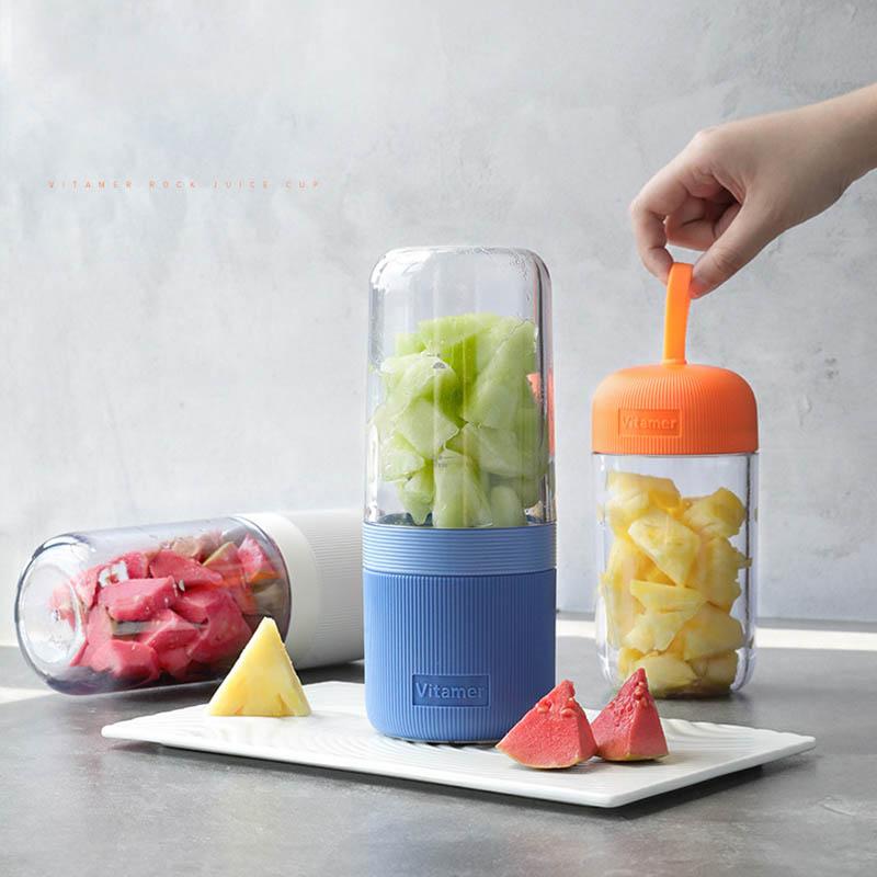 Exprimidor portátil Blende, máquina exprimidora de frutas y verduras, exprimidor de zumo de vitaminas, Extractor de 4 hojas con carga USB de 400ML
