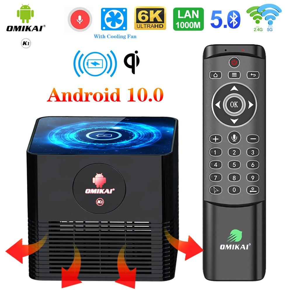 OMIKAI K1 de carga inalámbrica caja de TV Android 10 4GB de RAM 32GB 10bit HDR 4K Wifi Dual 1000M LAN reproductor de medios HD Youtube Google