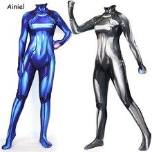 Samus Aran Costume zéro Metroid Cosplay impression 3D Lycra Spandex Zentai noir bleu body Costume combinaisons femmes enfants Halloween