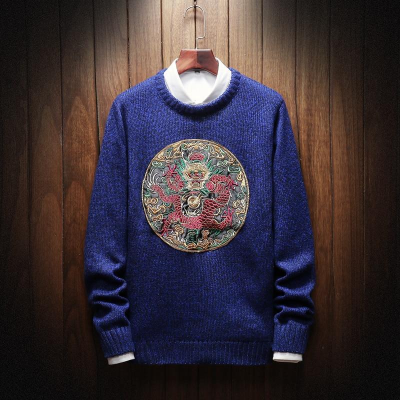 Suéter masculino de moda nuevo estilo hombres suéteres y suéteres Casual 2019new otoño suéter estilo chino M-5XL bordado de punto