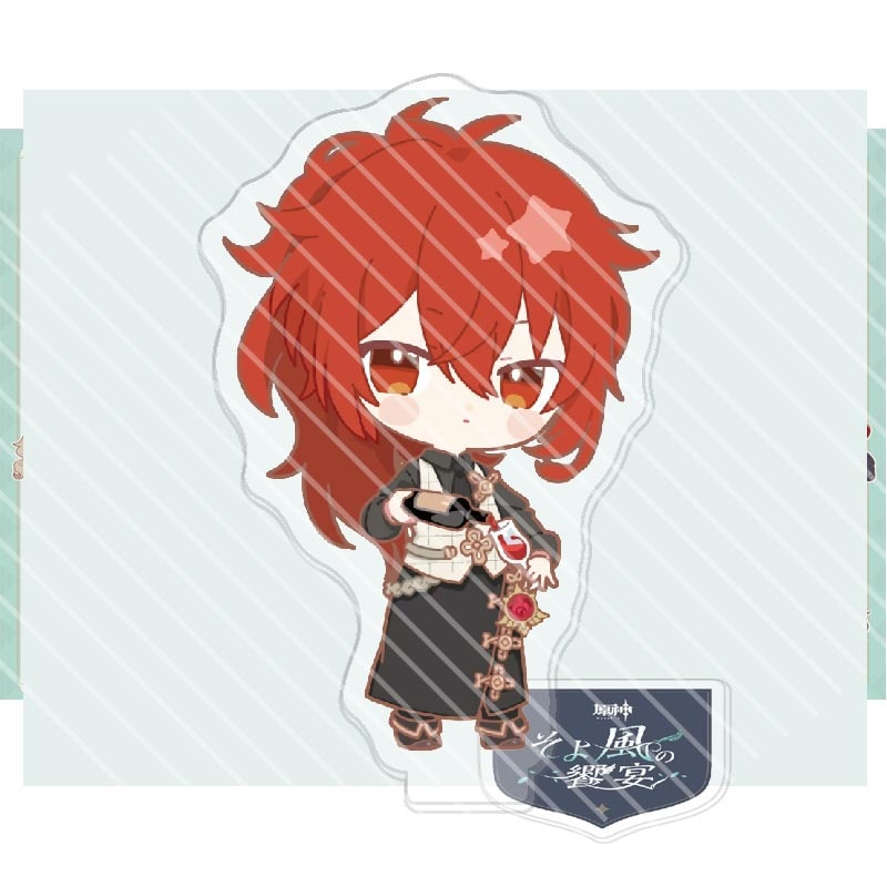 2021 Hot Anime Genshin Impact Barbara Klee Venti Paimon Cosplay Character Stand Card Kawaii Accessories For Fans Collection Gift