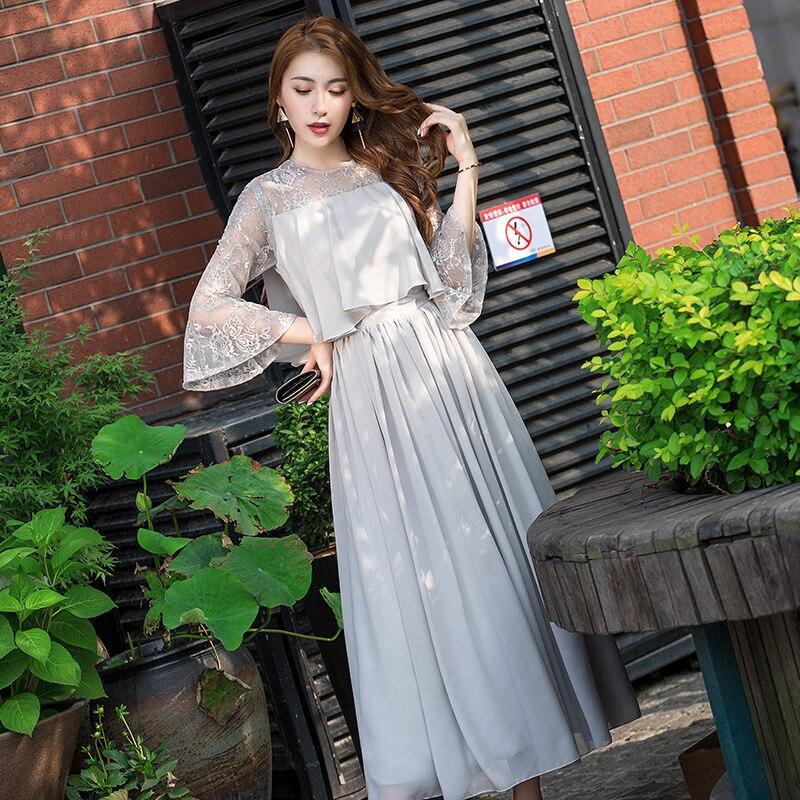 فستان سهرة من الدانتيل الزهري المخرم للنساء ، فستان مأدبة ، مثير ، رقبة مستديرة ، أكمام واسعة ، مطوي ، لوصيفات العروس ، الزفاف ، تنورة شيفون