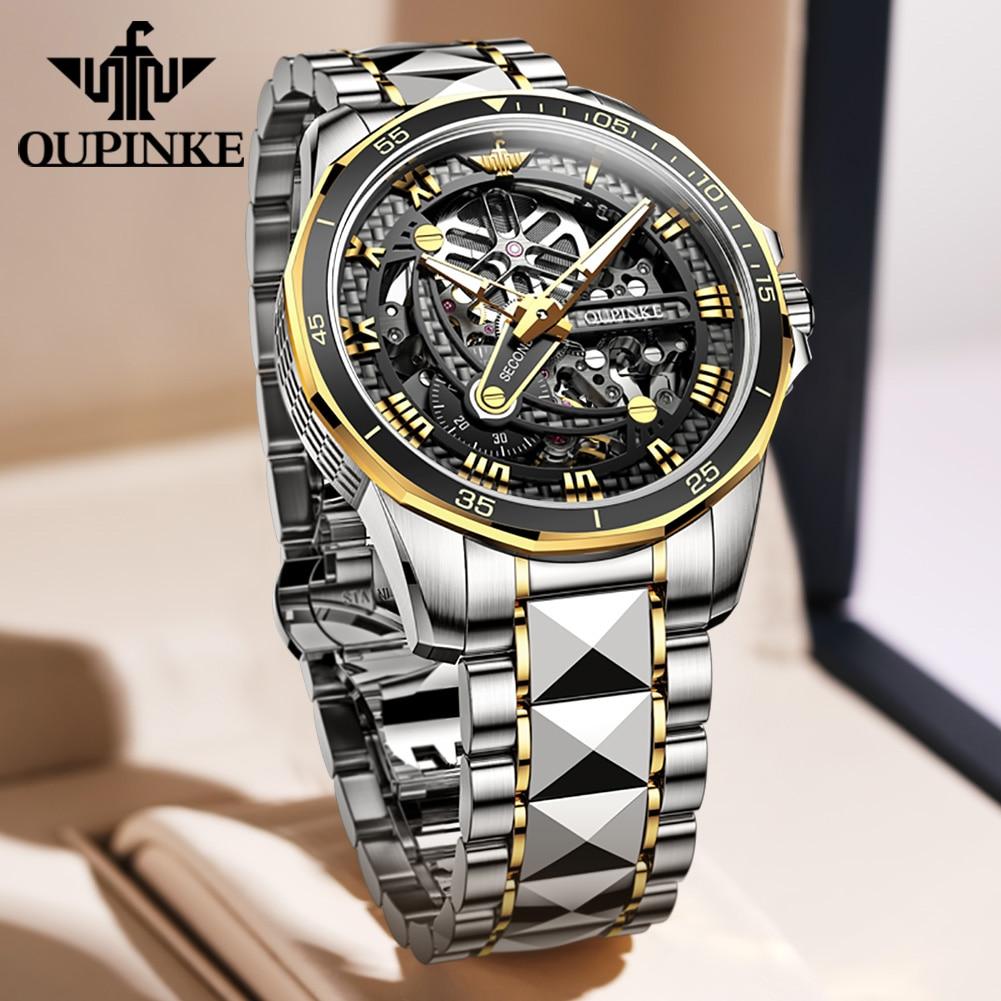 Top Brand OUPINKE Luxury Men's Mechanical Wristwatch Automatic Watch Men Classic Skeleton tungsten s