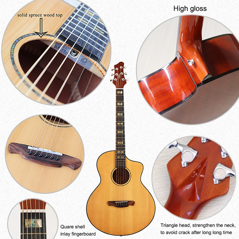 Electric acoustic guitar 41 inch natural color solid wood spruce top 6 string folk guitar with quare shell inlay fingerboard  - buy with discount