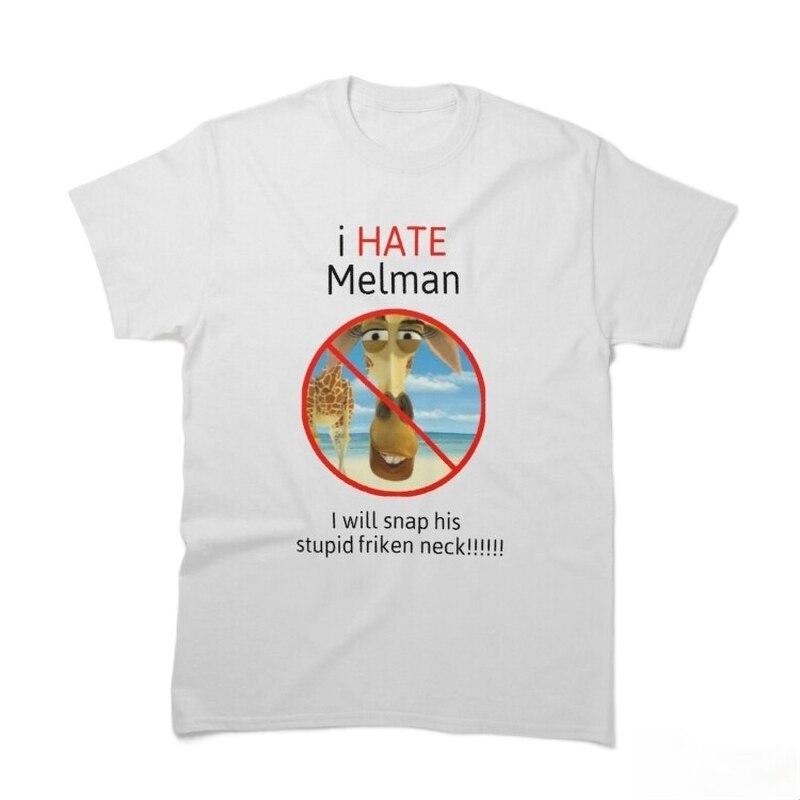 Уличная одежда I hate Melman в стиле Харадзюку, футболка, мужская летняя футболка с коротким рукавом, хлопковые модные черные топы, футболки в сти...