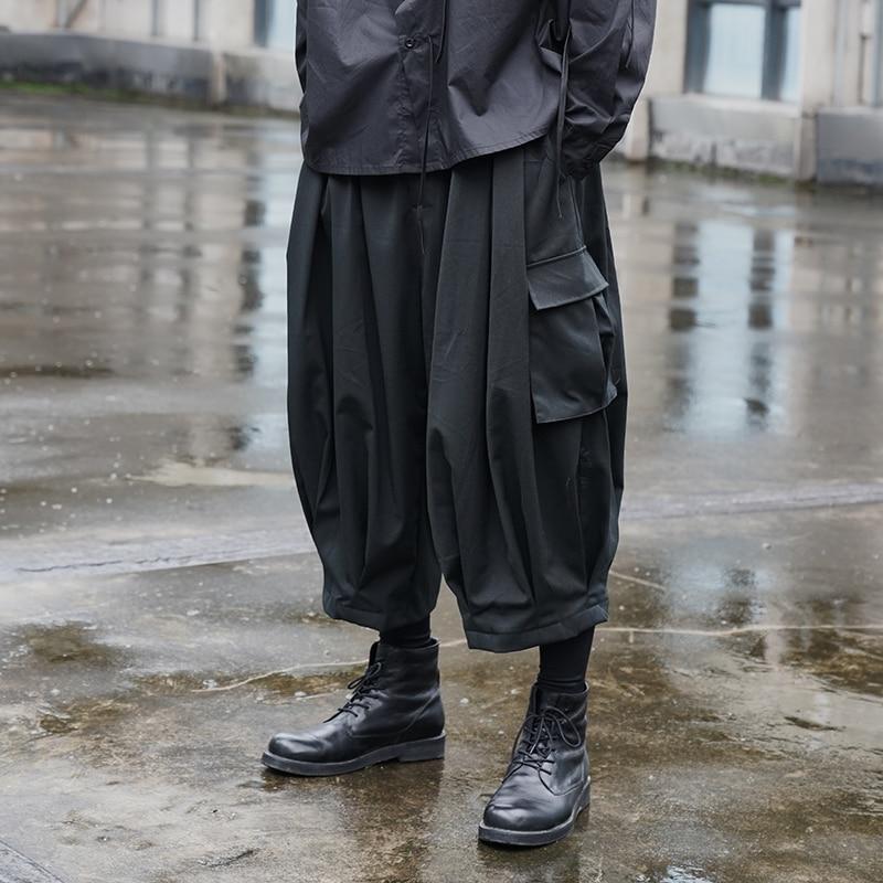 الرجال اليابان نمط الشارع الشهير الهيب هوب Harajuku موضة عادية فضفاضة واسعة الساق البضائع بانت الذكور النساء زوجين أسود الكاحل طول بانت