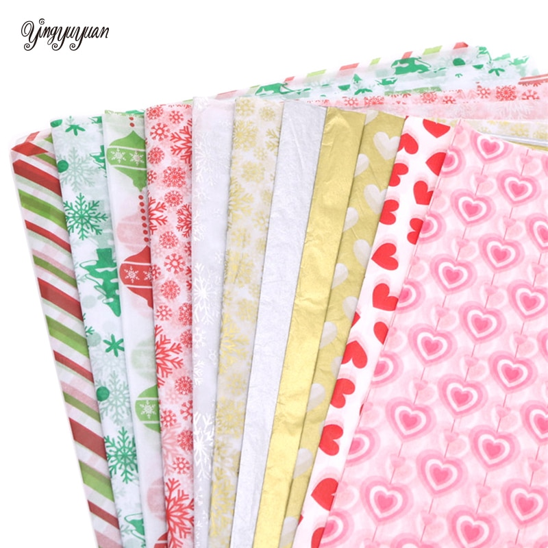 10pcs Tissue Paper 50*66CM Craft Paper Floral Wrapping Paper Gift Packing Paper Home Decoration Festive Party Supplies