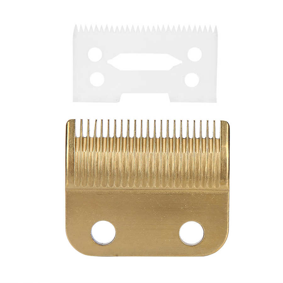 2pcs Electric Hair Clipper Blade Cutter Head Replacement Accessories Fit for WAHL 8504 (Gold Fixed Knife+Ceramic Movable Knife)