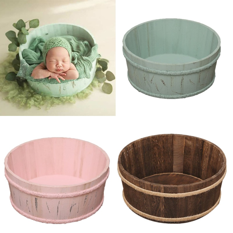 fotografie baby props vintage woven rattan basket newborn photography props basket baby posing sofa bed accessoire bebe photo Newborn Photography Props Wooden Basin Full Moon Infants Baby Pose Auxiliary Photo Shooting Basket