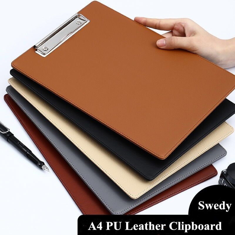 A4 PU Leather Clipboard Writing Pad With Metal Hook Plastic File Folder Document Holders School Office Stationery Supplies vodool 31 5 19 8cm portrable wooden file clipboard folder student school writing plate office supplies stationery folder