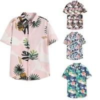 2021 summer new mens shirt mens hawaiian casual one button all match shirt seaside beach surfing print short sleeved loose top