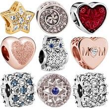Fit Pandora Bracelets Women DIY Lovers Silver Color Christmas Star Leopard MOM School bag Headset Charms Europe Beads Pendant