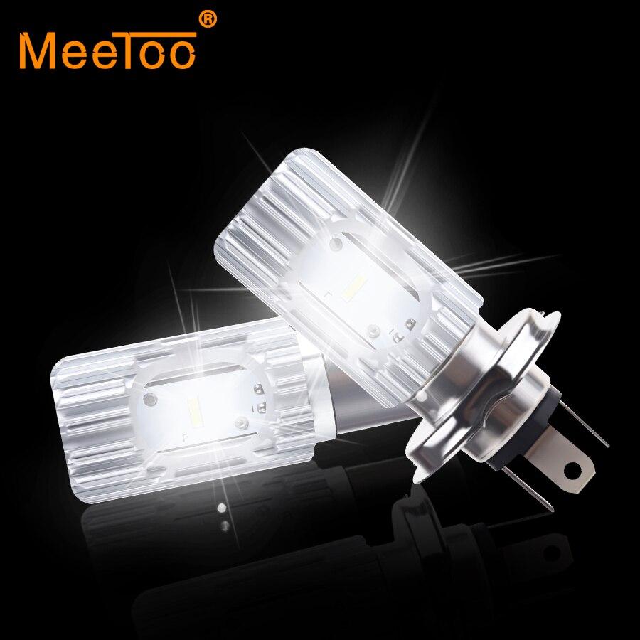 Bombillas LED para faros de motocicleta MeeToo H4 BA20D 2400LM 6500K 20W HS1 Led Farol motocicleta faro iluminación para coche motocicleta luces