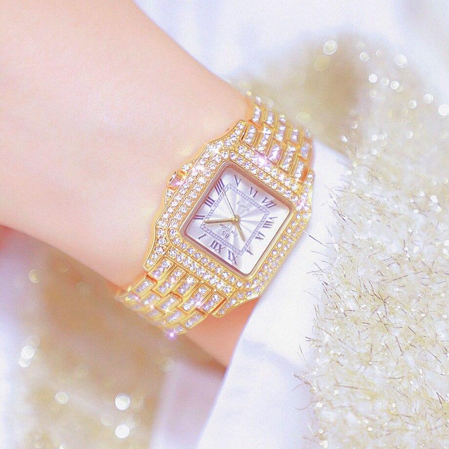 Reloj Bling resistente al agua para mujer, marca de moda de lujo, reloj dorado para mujer con Strass, reloj de pulsera exclusivo de acero inoxidable 2020