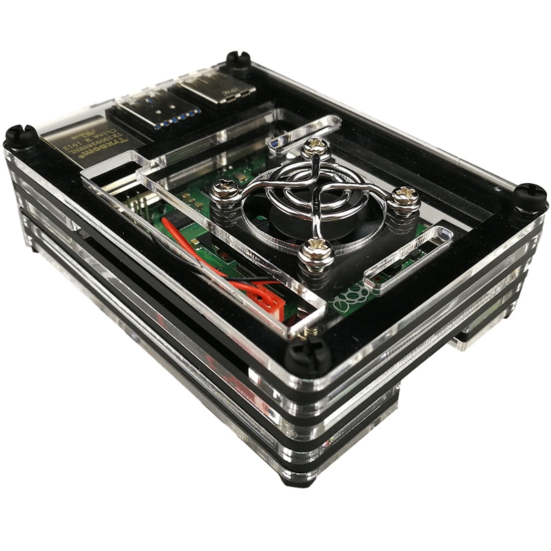 raspberry pi 4 model b acrylic case with cooling fan 32gb sd card 5v 3a power heatsink hdmi for raspberry pi 4b Raspberry PI 4 case  PI 4 Model B Acrylic Case With Cooling Fan +Heatsink for Raspberry pi 4B
