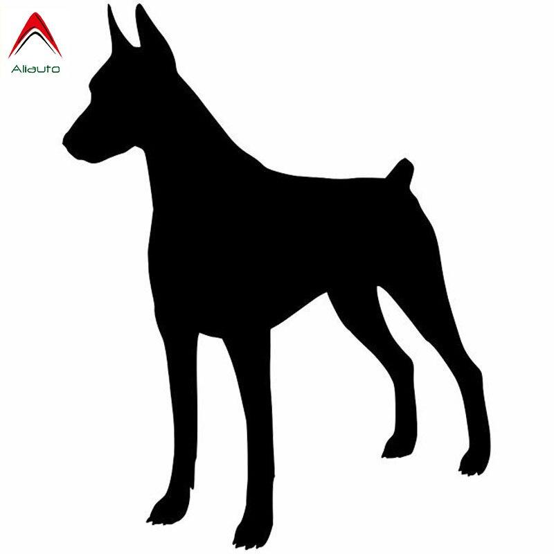 Aliauto de moda personalizado pegatinas de coche Doberman Pinscher perro decoración vinilo protector solar impermeable negro/plata 11cm * 15cm