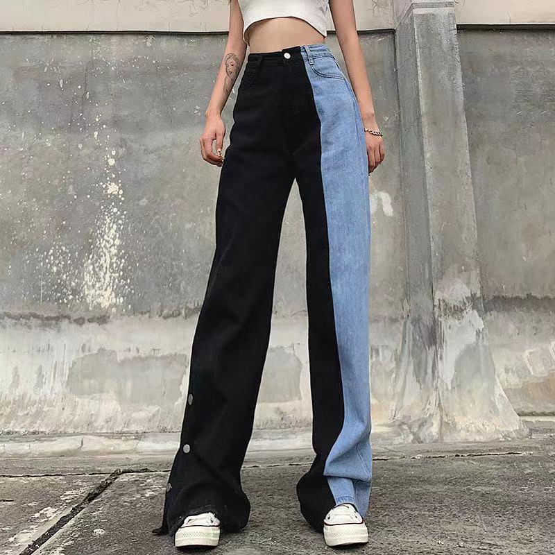 Женские джинсы большого размера, женские джинсы с высокой талией в Корейском стиле, Универсальные женские винтажные джинсы полной длины, си...